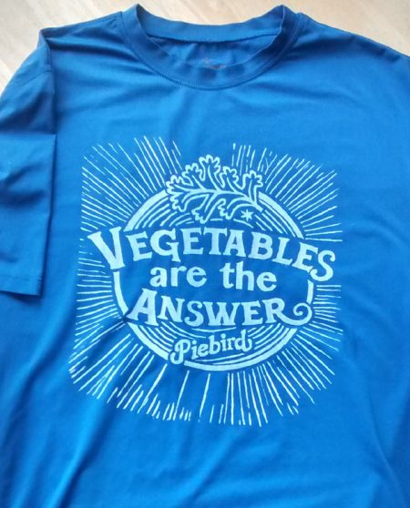 upcycled shirt - vegetables are the answer